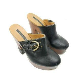 Calvin Klein Clogs Platform Heels Leather Buckle